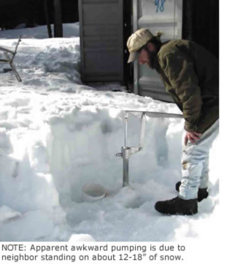 Simple Pump Customer Installation Deep Well Hand Pump pumping in snow